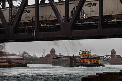 Calumet River 100th Street Bridge barge operations, with Norfolk Southern railroad bridge in the foreground. 3/28/20