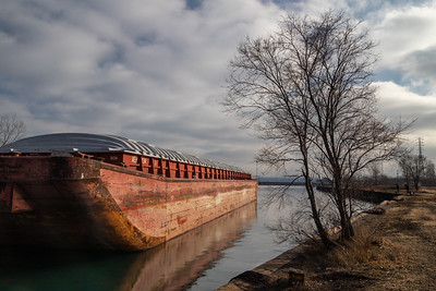 Barge in slip near the mouth of the Calumet River. 12/27/19