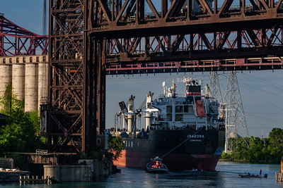 Lake freighter passing under the Norfolk Southern and Chicago Skyway bridges. 7/13/19