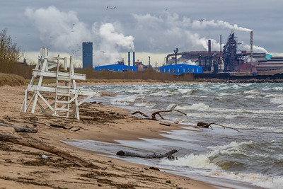 IMG_7376.jpg Lake Michigan shoreline at Miller Beach in Gary, Indiana with the US Steel Gary Works to the west. 5/3/19
