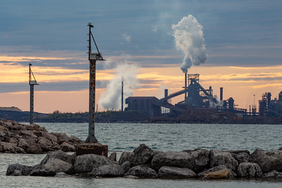 IMG_1177.jpg  Looking from the Lake Michigan shoreline in Whiting, Indiana towards ArcelorMittal's Number 7 blast furnace in East Chicago, Indiana. 5/11/19