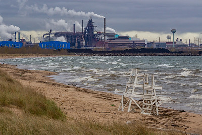 IMG_7369.jpg Lake Michigan shoreline at Miller Beach in Gary, Indiana with the US Steel Gary Works to the west. 5/3/19