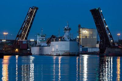 IMG_6632.jpg Lafarge Company cement vessel Innovation, on the Calumet River, heading through the Ewing Avenue bridge towards Lake Michigan. 11/2/18