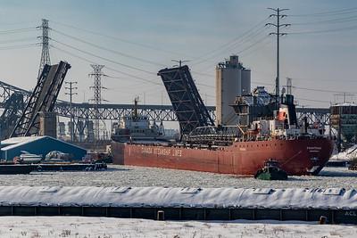 IMG_6256.jpg  Great Lakes freighter Frontenac on the Calumet River passing under the 95th Street bridge towards Lake Michigan. 2/2/20