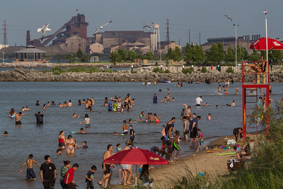 IMG_8459.jpg Bathers in Lake Michigan at Whilala Beach in Whiting, Indiana, with ArcelorMittal's steel mill in East Chicago, Indiana. 7/19/19