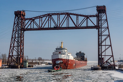 IMG_6371.jpg Great Lakes freighter Frontenac on the Calumet River passing under a disused railroad bridge heading towards Lake Michigan. 2/2/20