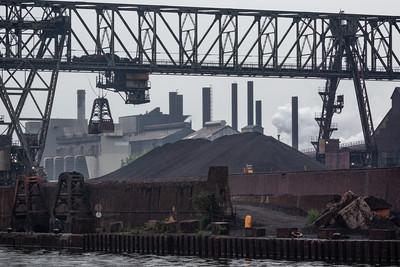 IMG_7611.jpg  ArcelorMittal steel mill loading cranes on Indiana Harbor canal in East Chicago, Indiana. 6/9/19
