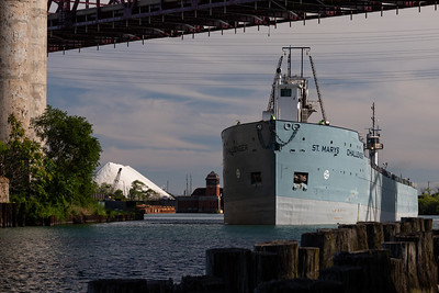 IMG_1713 (1).jpg  Cement carrying vessel, St Mary's Challenger, heading under the Chicago Skyway bridge and up the Calumet River towards Lake Michigan. 8/11/20