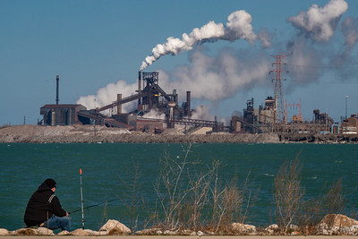 IMG_1033.jpg  Fishing on Lake Michigan in Whiting Indiana, across the water from the Number 7 blast furnace of the ArcelorMittal steel mill in East Chicago, Indiana. 4/5/20