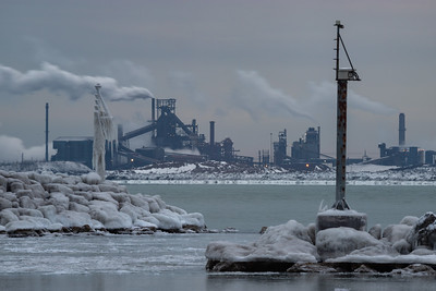IMG_6042.jpg Frigid Lake Michigan shoreline in Whiting, Indiana with ArcelorMittal steel mill across the water in East Chicago, Indiana. 2/15/20