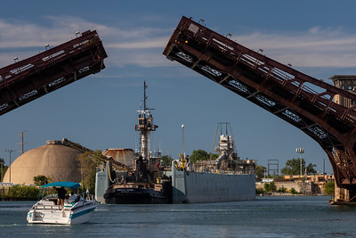 IMG_1760.jpg  Cement carrying vessel, St Marys Challenger, heads under raised leaves of the 95th Street bridge and up the Calumet River towards Lake Michigan. 8/11/20