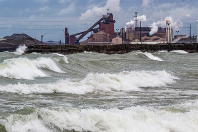 IMG_3195.jpg Lake Michigan and the ArcelorMittal steel mill in East Chicago, Indiana. 4/19/19