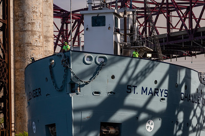 IMG_1737.jpg  Crew keeping watch as the cement carrying vessel, St Marys Challenger, heads under the Chicago Skyway bridge and up the Calumet River towards Lake Michigan. 8/11/20