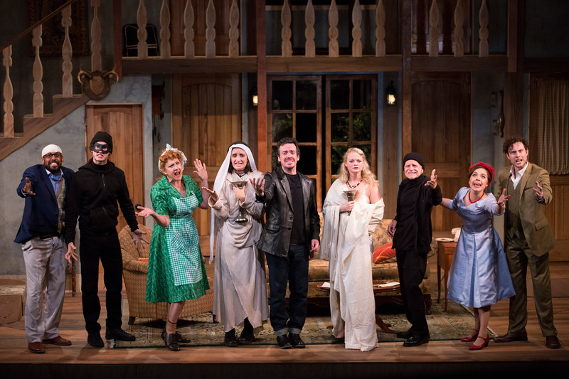 """Cast members perform a scene during a dress rehearsal for Chautauqua Theater Company's production of """"Noises Off"""" in Bratton Theater on June 29, 2017. """"Noises Off"""" is a play within a play, and it kicks off the 2017 CTC season at 8:00 PM on June 30, 2017. CAM BUKER/STAFF PHOTOGRAPHER"""