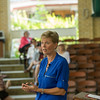 """Beth Stevens; current co-chair of the board of the Jane Gooddall Institute, discusses the topic """"Every Milkweed Counts"""" at Smith Wilkes Hall on Monday, July 3, 2017. CAM BUKER/STAFF PHOTOGRAPHER"""