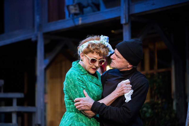 """Carol Halstead and John Seidman perform a scene during a dress rehearsal for Chautauqua Theater Company's production of """"Noises Off"""" in Bratton Theater on June 29, 2017. """"Noises Off"""" is a play within a play, and it kicks off the 2017 CTC season at 8:00 PM on June 30, 2017. CAM BUKER/STAFF PHOTOGRAPHER"""