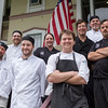 Head chef Edward Work, center, poses with his kitchen staff at the Athenaeum Hotel on Sunday, June 25, 2017. CAM BUKER/STAFF PHOTOGRAPHER
