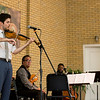 Alex Hargreaves; left, violinist for the group Turtle Island Quartet, plays a solo piece at Smith Wilkes Hall on Tuesday, July 4, 2017. CAM BUKER/STAFF PHOTOGRAPHER