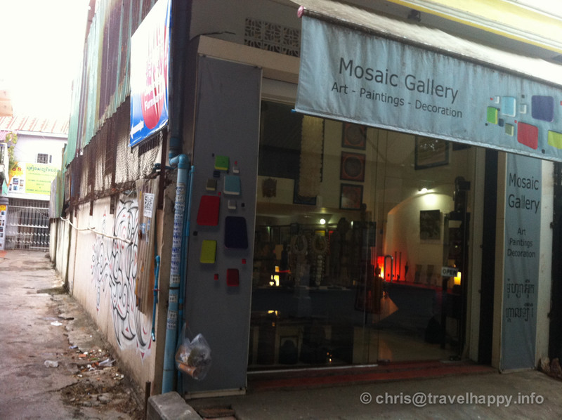 ARTillery Art Cafe is down this alleyway bedies Mosiac Gallery on Street 240 Phnom Penh