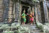 Khmer-classical-dancers,-aspara-and-ogre-characters-on-the-Terrace-of-the-Elephants,-Angkor-Thom,-Cambodia