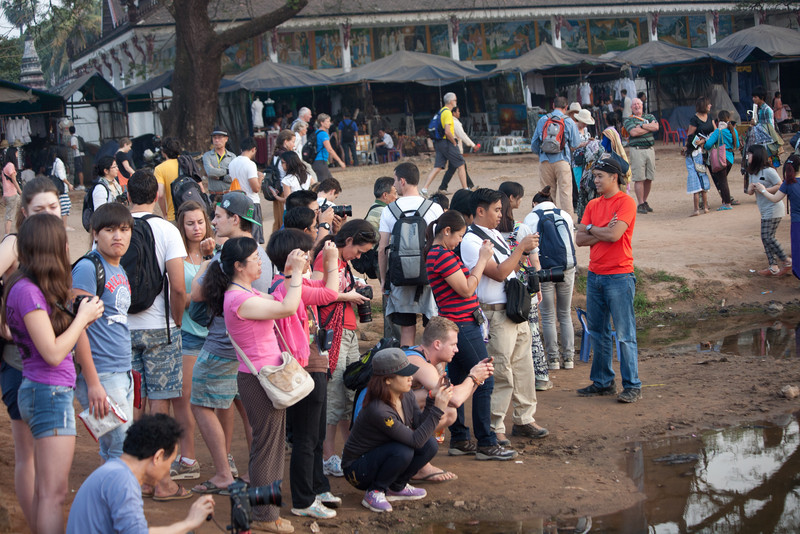 this was only some of the many photographers capturing the sunrise at Angkor Wat