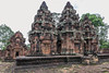Central-towers-with-North-library-behind,-Banteay-Srei,-Cambodia