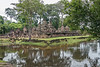 Banteay-Srei-from-the-south-west,-reflected-in-the-moat,-Cambodia