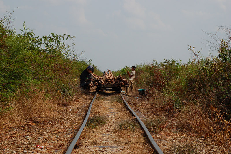 What happens when two bamboo train meet coming from two different directions?  The less loaded train must be taken apart to let the other pass.