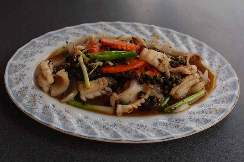 Lunch: squid cooked with fresh pepper.