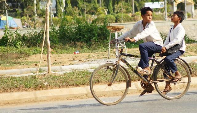 Riding bicycles in Battambang, Cambodia