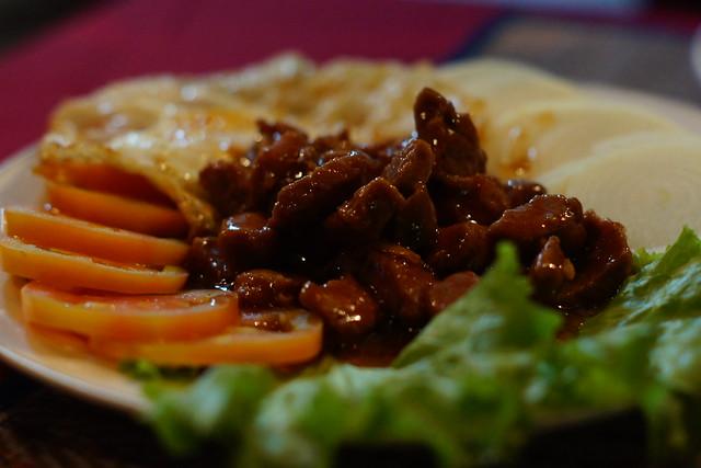 A traditional Khmer dish, beef lok lak