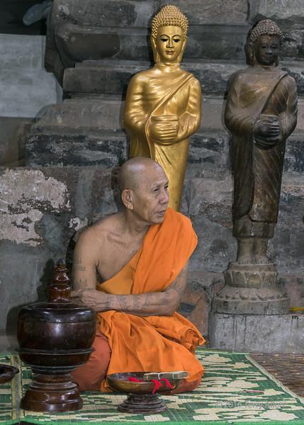 Monk in saffron robes