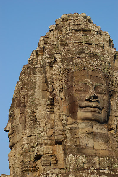 Cambodia, Angkor: A tower of Bayon Temple.