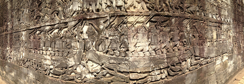 Panoramic shot of a very detailed relief at Bayon