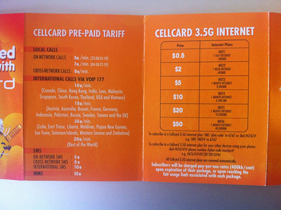 Cellcard Cambodia SIM card prepaid data packages for internet usage on your smartphone