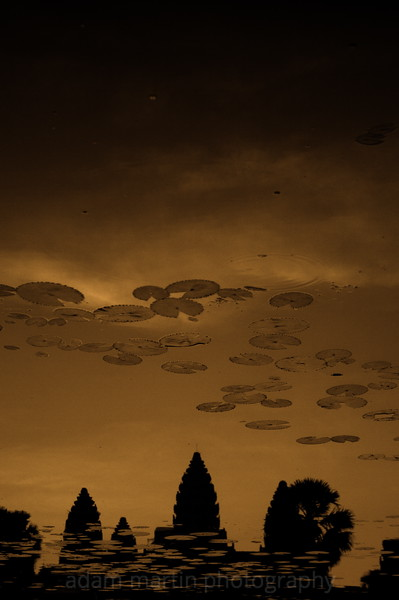 Upside down Angkor Wat dawn. Cambodia