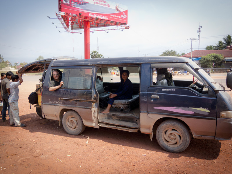 On the way to Kampot, I was dropped off in a random town, and told to get on the next bus - or this van with no sliding door.