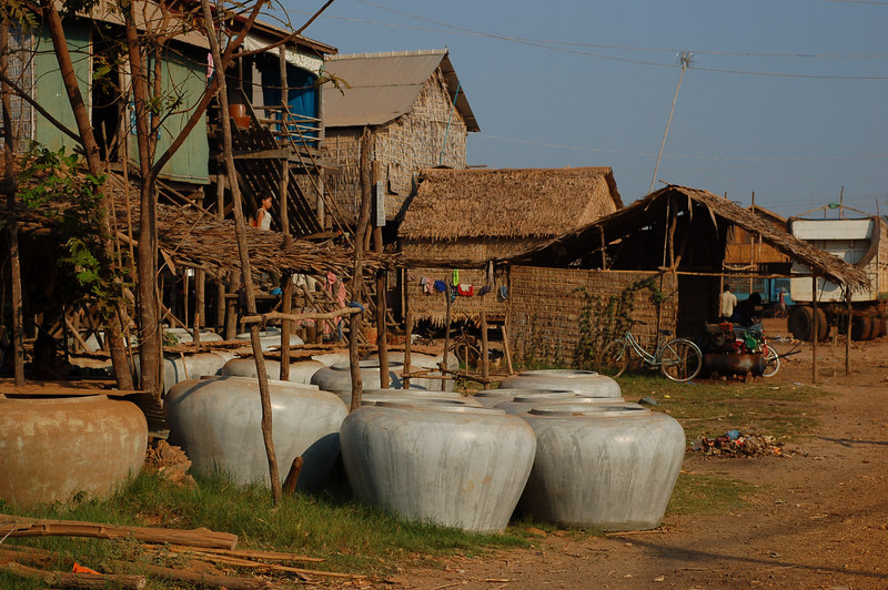 Locally made ceramic pots used all over Cambodia  to hold water.
