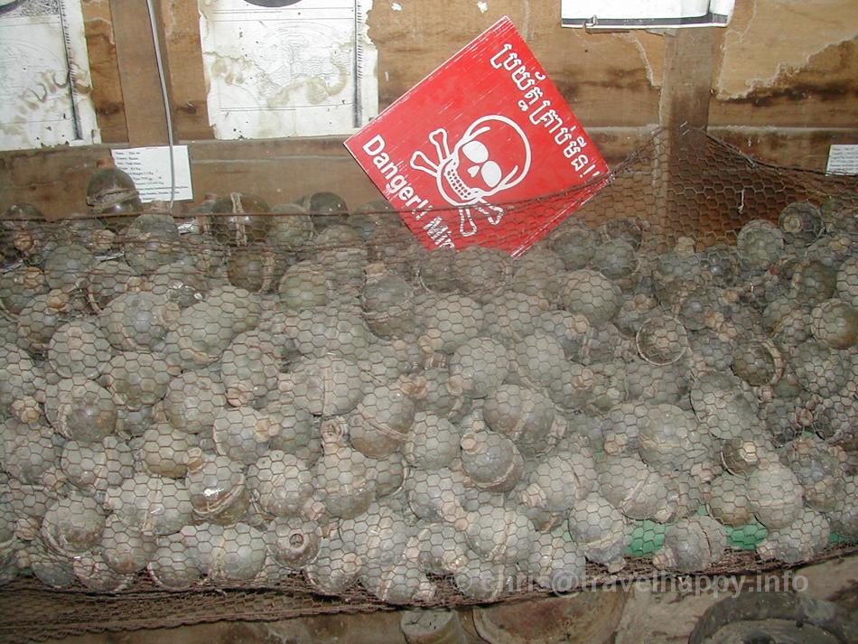 Recovered grenades, Landmine Museum, Siem Reap