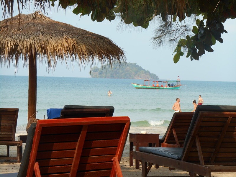 we took a bus from Phnom Penh to Sihanoukville, about five hours away on the coast of the Gulf of Thailand.  Half an hour further south (by tuk tuk) is the small, relatively undeveloped community of Otres Beach.