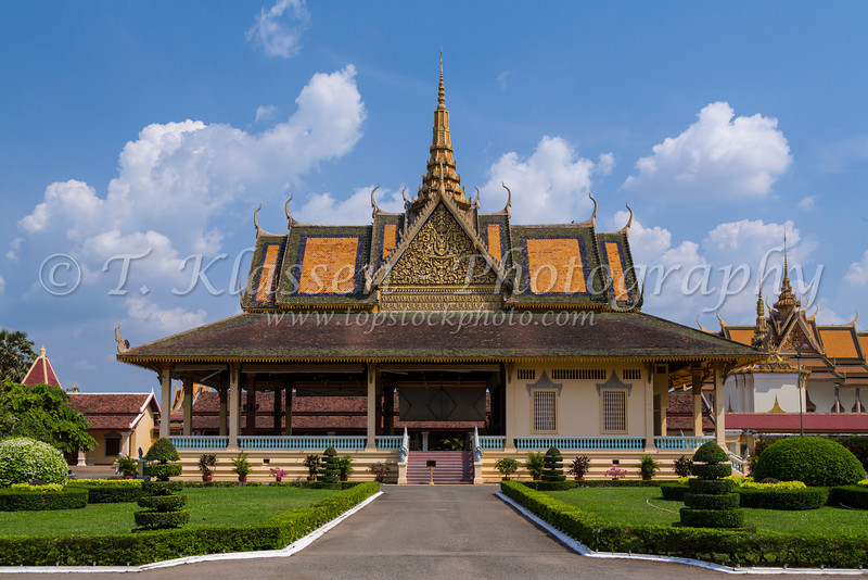 The Phochani Pavilion in Royal Palace complex of pagoda architecture buildings in Phnom Penh, Cambodia, Asia.