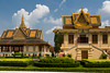 The Royal Palace complex of pagoda architecture buildings in Phnom Penh, Cambodia, Asia.