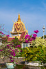 The spires, stuppas and pagoda architecture of the Silver Pagoda complex in Phnom Penh, Cambodia, Asia.