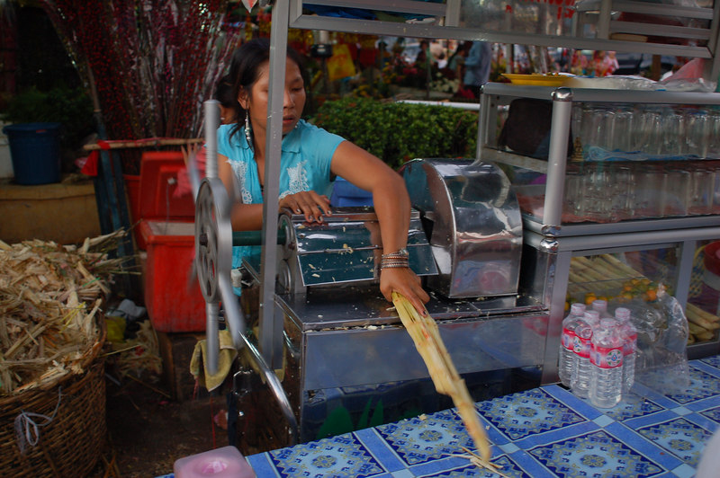 Pressing sugar canes.