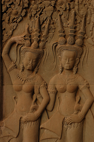 Apsaras carved into the walls of Angkor Wat