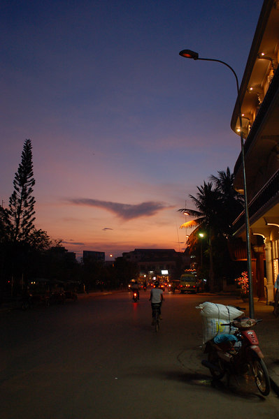 Sun setting over Siam Reap, the gateway to Angkor