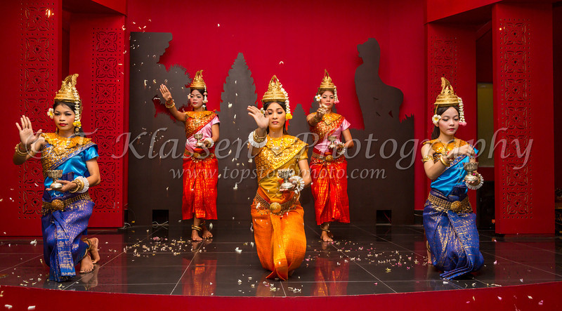 A group of Khmer dancers performing an ethnic cultural dance at a restaurant in Siem Reap, Cambodia, Asia.