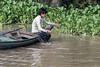 Retrieving his net