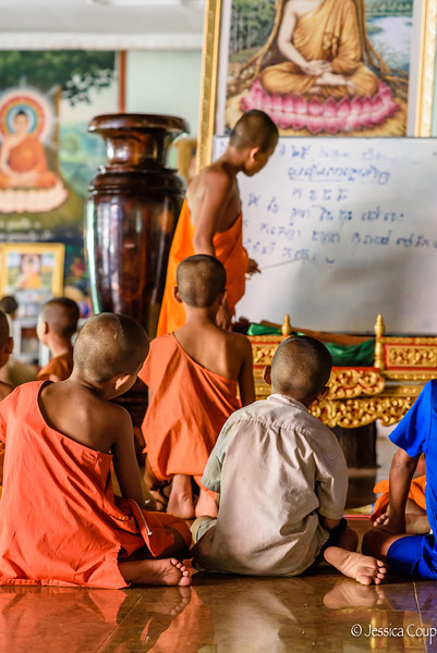 Monks Learning the Khmer Alphabet