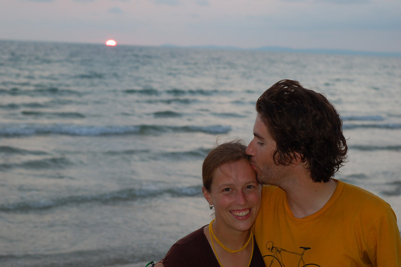 Emilie and lover Yann with the sunset.